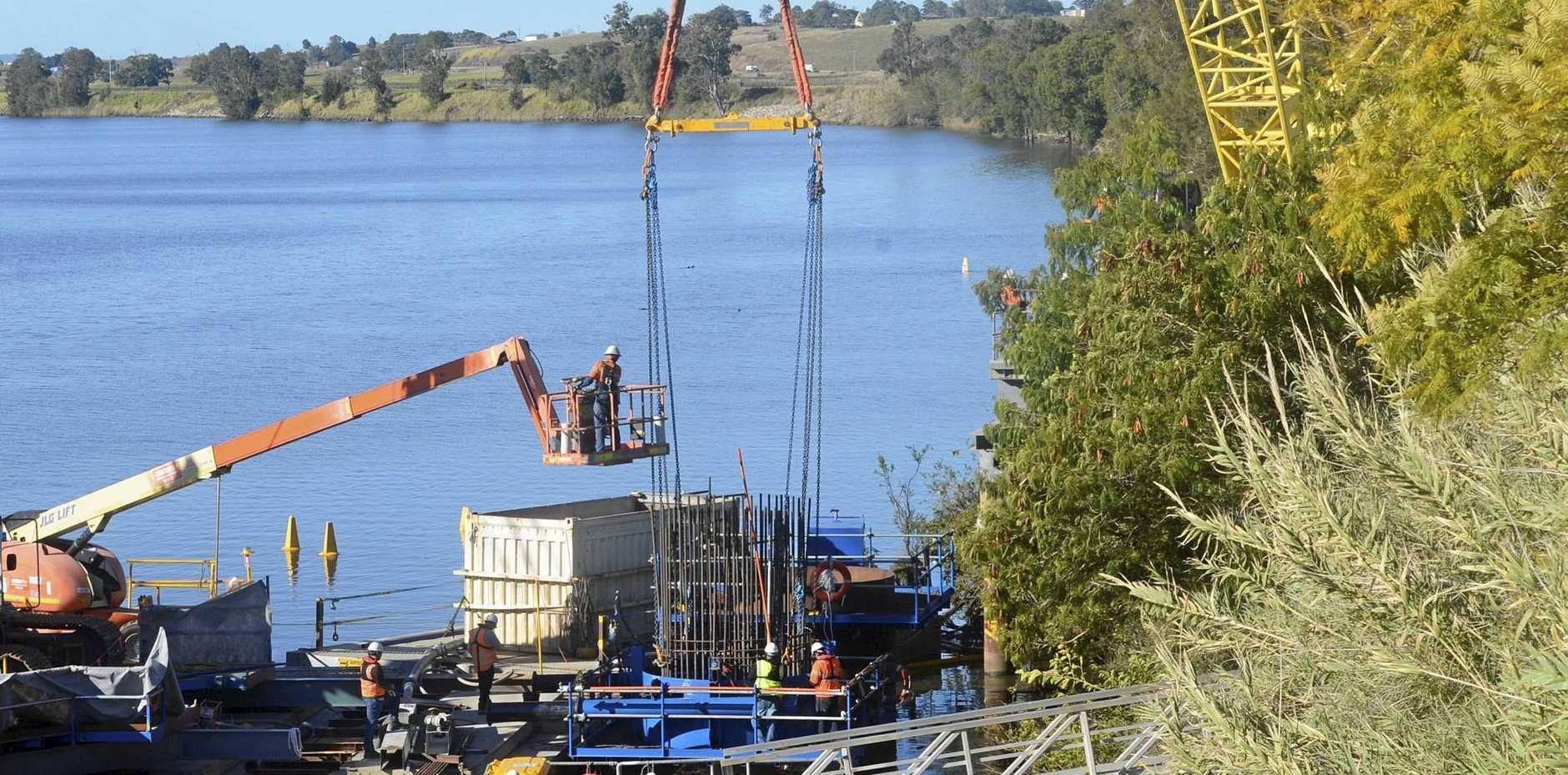 Construction of the new Grafton Bridge on August 8, 2017.