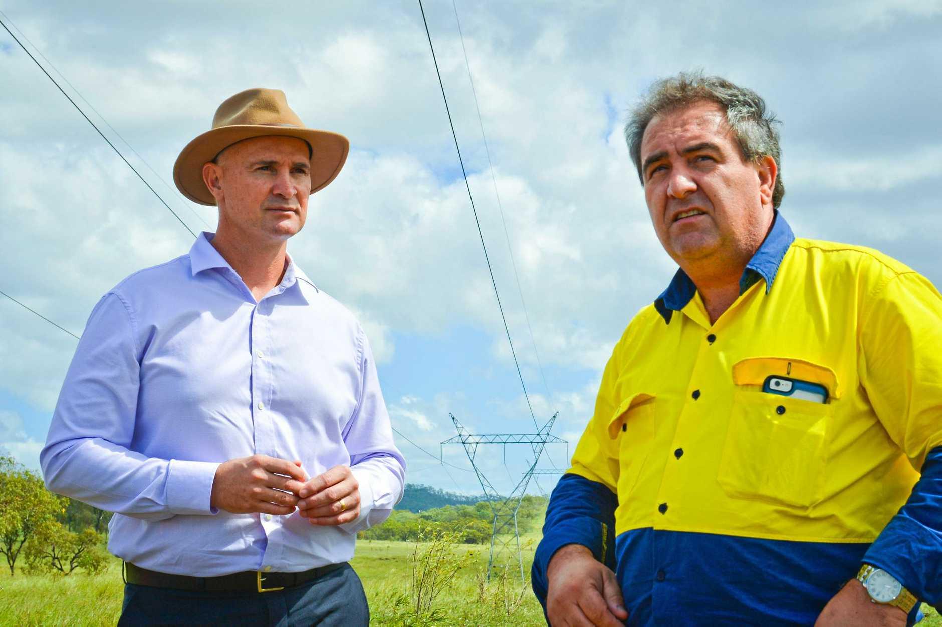 Glenn Butcher and Economic Development Queensland land planning and development manager John Brun at the Aldoga site.