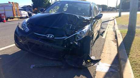 A Hyundai has crashed into a light pole in Kepnock