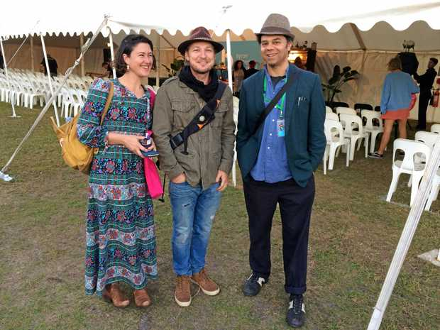 Kate McDowell, Julian Louis and Miles Merrill at The Byron Bay Writers Festival.