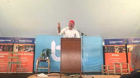 Peter FitzSimons, Chair of The Australian Republican Movement, making his case at The Southern Cross University Marquee  at The Byron Writers Festival.