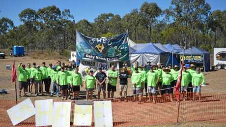 LOCKED OUT: Striking miners near Tieri have been locked out of their workplace due to an industrial dispute.