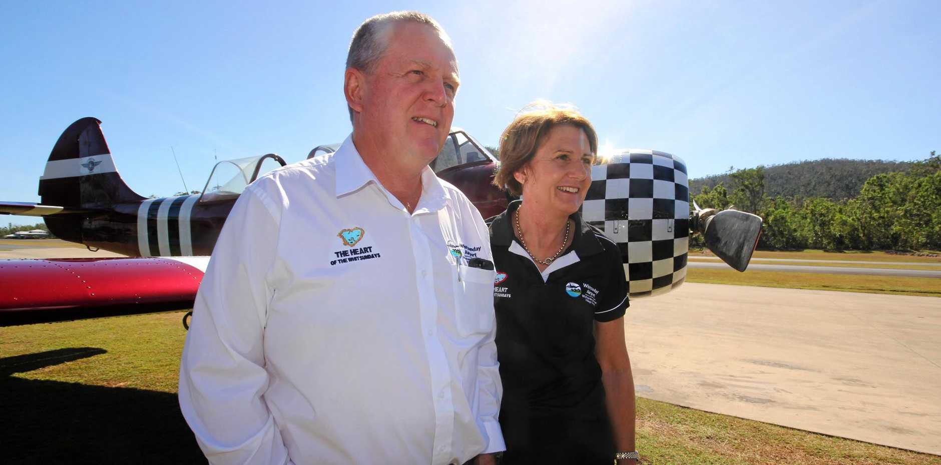 PASSIONATE PILOTS: New owners of the Whitsunday Airport, Ross and Diane Armstrong.