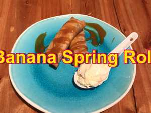 Preparing Banana spring rolls