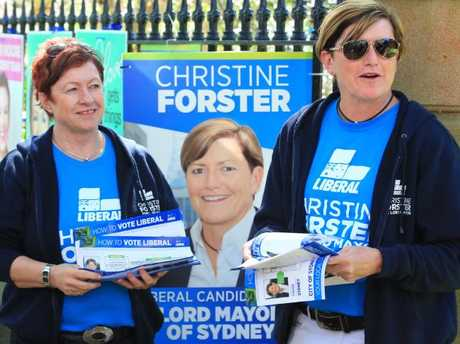 Virginia Edwards campaigning with partner and liberal candidate Christine Forster at Bourke St Public School today during the local Government election. Picture: Adam Taylor