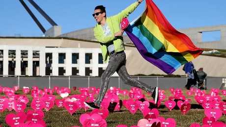 The 'Sea of Hearts' display launched in support of marriage equality yesterday. Picture: Kym Smith