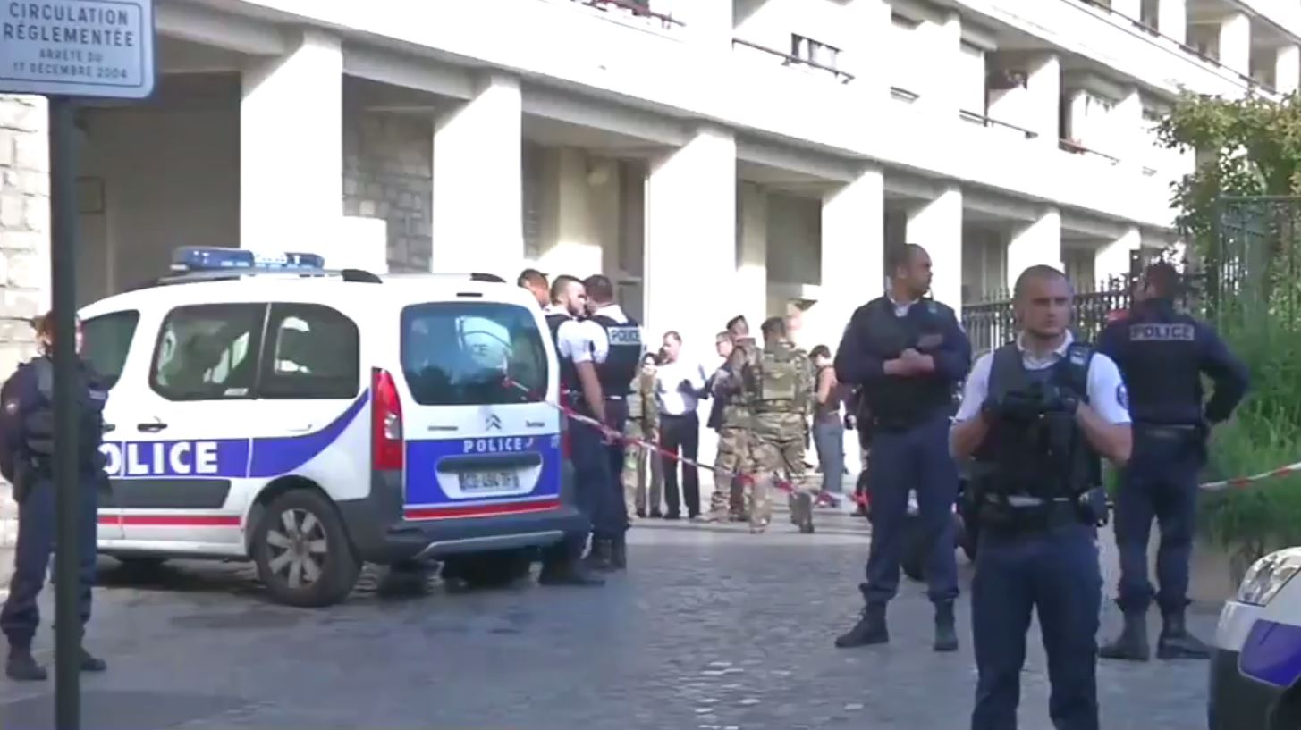 Several soliders have been injured after being hit by a car in Paris. Picture: Twitter