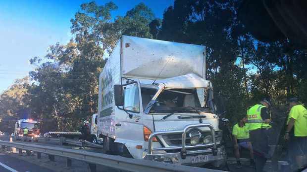 Delays are expected on the M1 after a truck and car collided. Photo: Kim Hoffmann