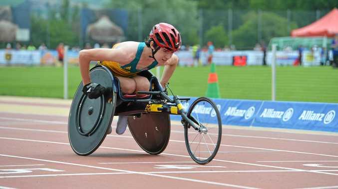 CHARGE: Nathan Donaldson competes at the World Para Athletics Junior Championships.