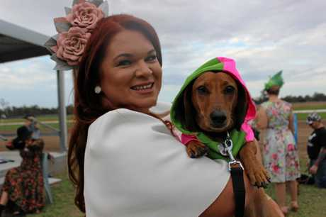 DRESSED FOR SUCCESS: Billie Cannard with dog Jimmy.