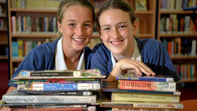 Immanuel Lutheran College Year 7 students Kiralee Brown and Georji Dunstone prepare for Naplan tests earlier this year.