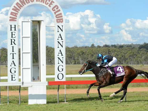 DAYLIGHT: Hannah English rode Hopetoun Street to an easy win in the Bechley's Transport Benchmark 65 at the Nanango Races.