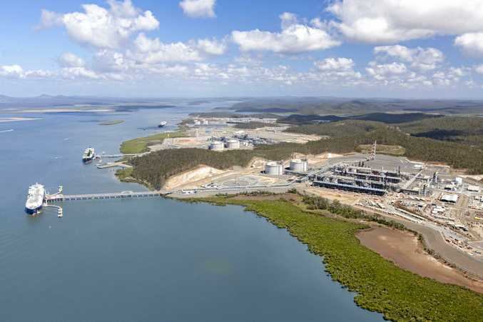 An aerial view of the three LNG export sites at Curtis Island.