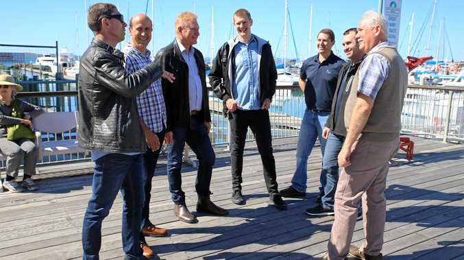 New Life Christian Church Pastor Robert Geluk with Hervey Bay Baptist Church Pastor Ray Frangakis, Bayside Christian Church Pastor Ross Davie, Bayside Christian Church Youth Pastor Tim Davie, Churches of Christ Hervey Bay Pastor Shane Matterson, Bayside Christian Church Assistant Pastor Peter Ford and Hervey Bay Uniting Church Pastor Graham Huth.