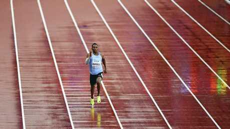 Botswana's Isaac Makwala runs a men's 200-meter individual time trial during