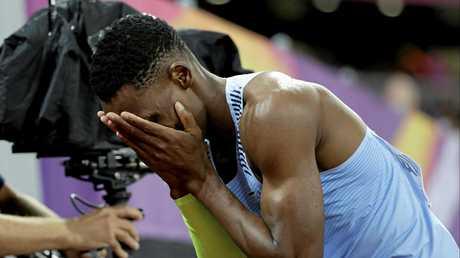 Botswana's Isaac Makwala reacts after finishing a Men's 200m semifinal