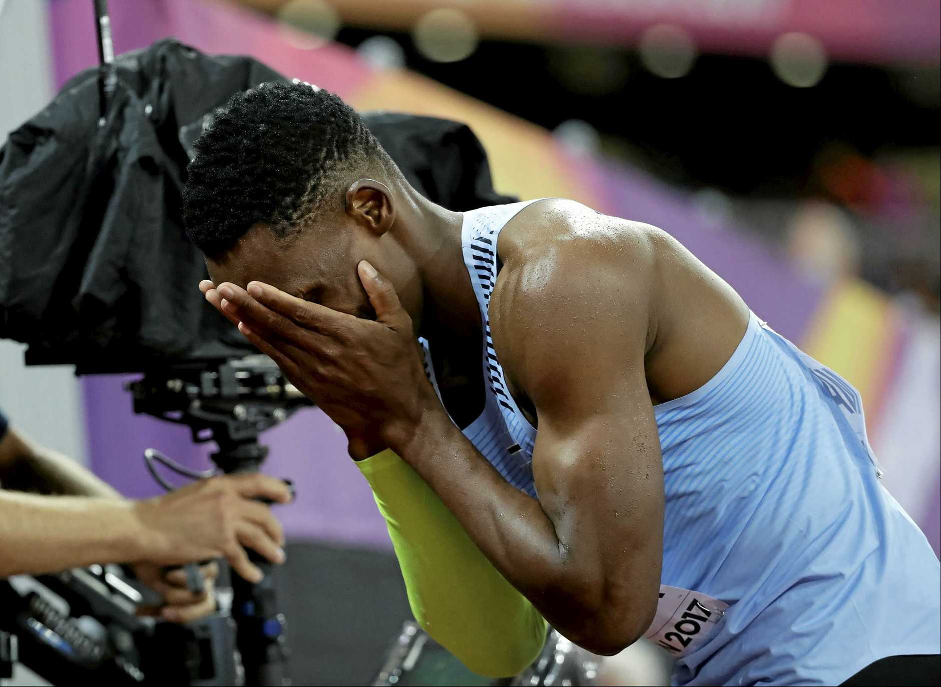Botswana's Isaac Makwala reacts after finishing a Men's 200m semifinal