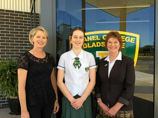 Gladstone Rotary Club youth director Danielle Botica with daughter Alexandra Botica and Chanel College principal Dr Susan Bunkum.