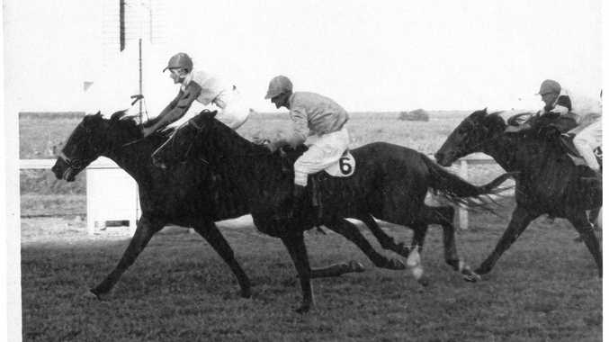 CLOSE FINISH: 'Tootie' Cowan wins the 1966 Amateur Ladies Bracelet on Odensea.