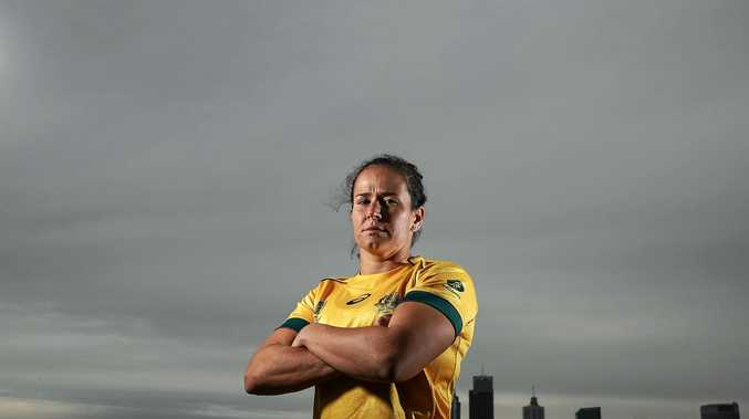 Wallaroos captain Shannon Parry poses during the Australian Women's Rugby World Cup squad announcement in Sydney.