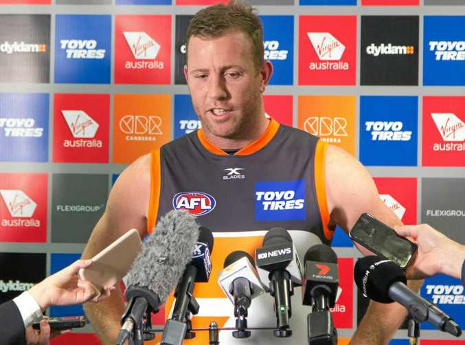 Giants veteran Steve Johnson speaking to the media during a press conference in Sydney.