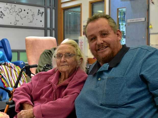 MILESTONE: Rowena Biddle celebrating her 101st birthday with her son, Peter Biddle.