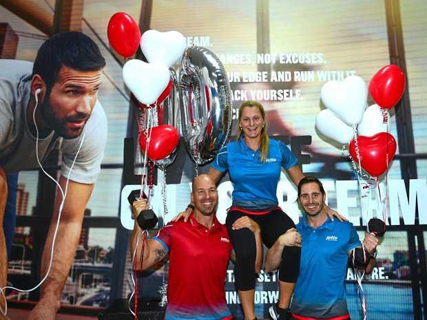 MILESTONE: Matt Sanderson, Ellie Meuwissen and Keven Connors celebrate Jetts Fitness' 10th birthday at the Kawana gym.