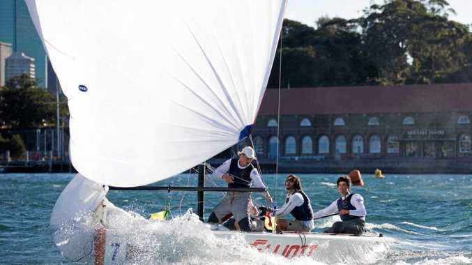 SAILING: James Hodgson and his team racing to an overall win in gusty winds on the final day of the Club Marine NSW Youth Match Racing Championship.
