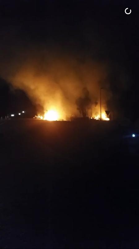 CALTEX BLAZE: The fire spread into the grass .