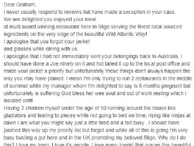 The restaurant owner was not having any of it. Image: TripAdvisorSource:Supplied