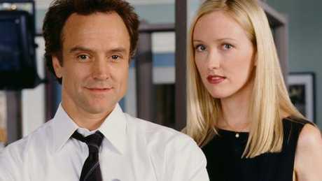 Bradley Whitford as Josh Lyman and Janel Maloney as Donna Moss.