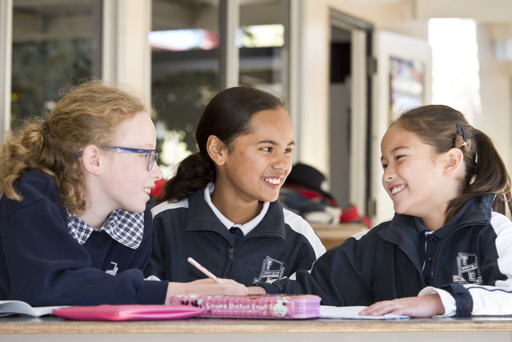 Toowoomba East State School students (from left) Abigail Leslight, Sophie Khan, Ashlynn Austin are proud of their school's consistent high results from the recently released NAPLAN tests, Friday, August 11, 2017.