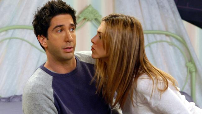 Jennifer Aniston with David Schwimmer in a scene from Friends.