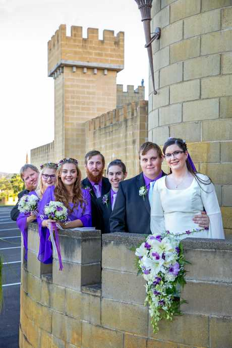 Hayden Murray and Sarah Seib at their medieval-themed wedding.