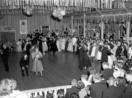 The Golden Pineapple Festival Ball in full swing in the show pavilion at Nambour on May 4, 1955.