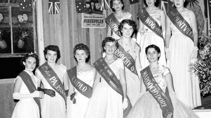 Entrants in the Golden Pineapple Festival Queen Competition at the Pineapple Queen Ball in May 1955.