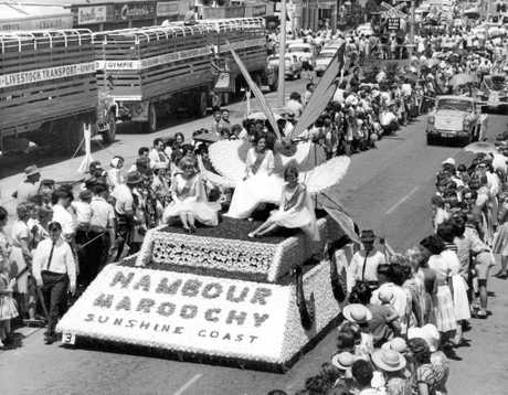 Maroochy Shire's float leads the Warana Spring Festival Parade along Currie St, Nambour, in 1965.