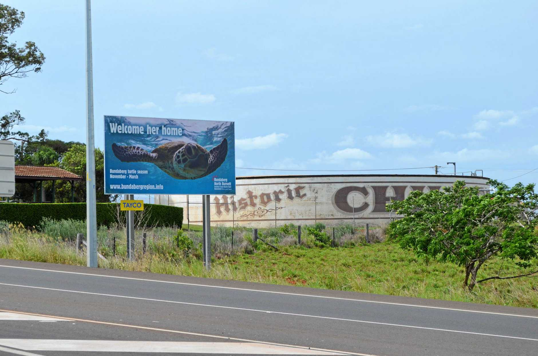 BILLBOARD UPSETS LOCALS: A billboard located in Childers promoting the turtle season has angered some of its residents. Photo: Jodie Dixon / Isis Town & Country