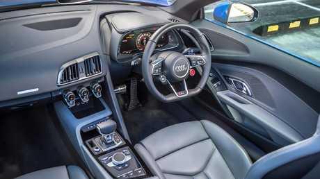 Inside the Audi R8 Spyder.
