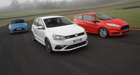 The Citroen DS3, Ford Fiesta ST and Volkswagen Polo GTI.