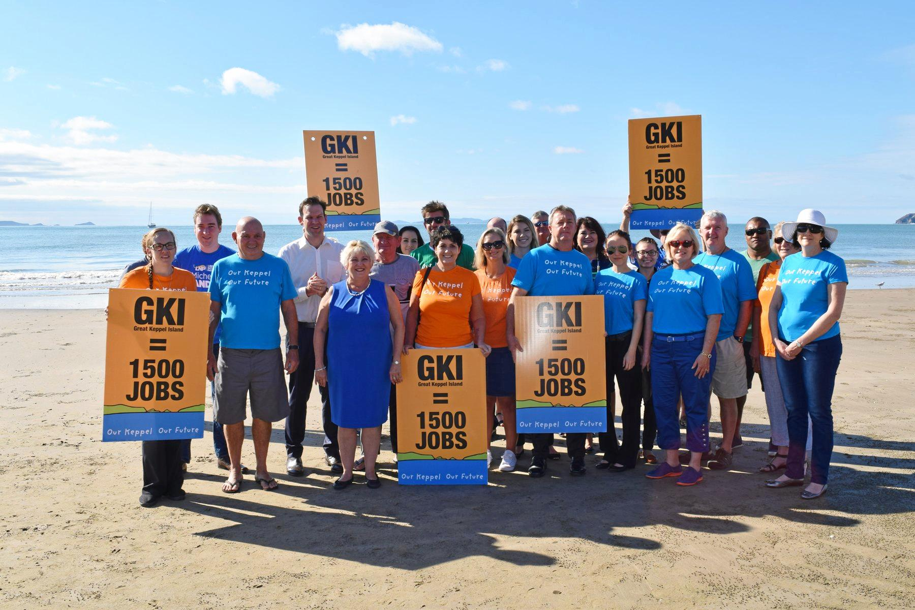 Our Keppel Our Future group were supporting the announcement made by Member for Capricornia Michelle Landry and Senator Matt Canavan to give $220,000 in funding towards building a retaining wall on Great Keppel Island's Putney Beach, if the Turnbull Government is re-elected.  Photo Amy Haydock / The Morning Bulletin