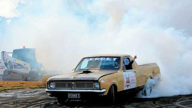 BURNING RUBBER: Joe Meredith puts the pedal down on Maryborough Speedway's Burnout pad.
