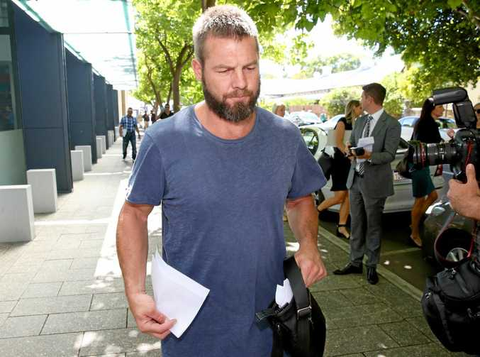Former West Coast Eagles AFL player Ben Cousins leaves the Fremantle Magistrates Court in January.