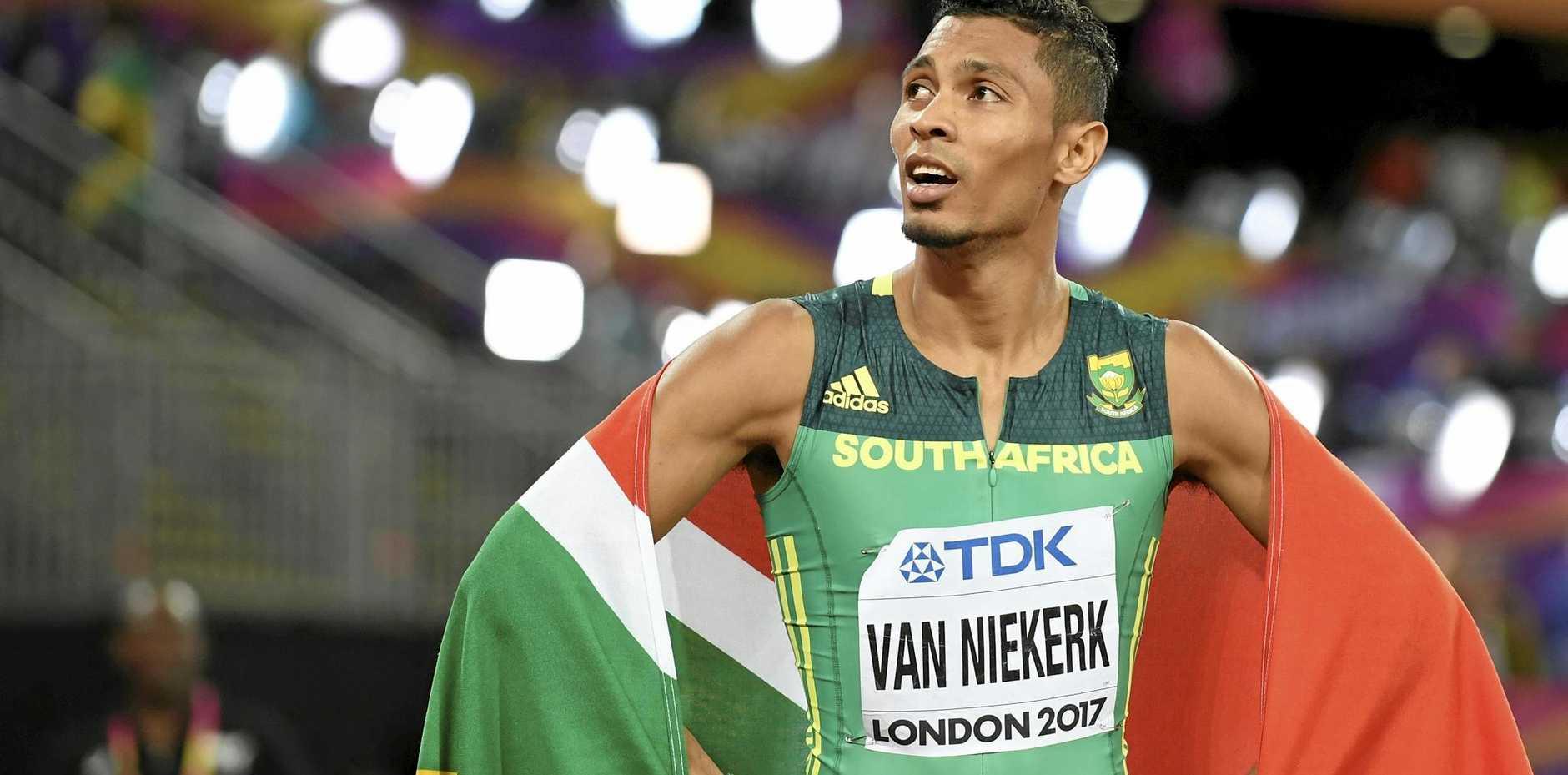 Silver medallist Wayde van Niekerk of South Africa after the men's 200m final.