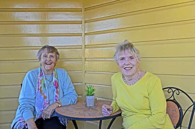 Friends Joyce Betts and Phyllis Clout talk about the 65th reunion of the 1952 class of Grafton High School.