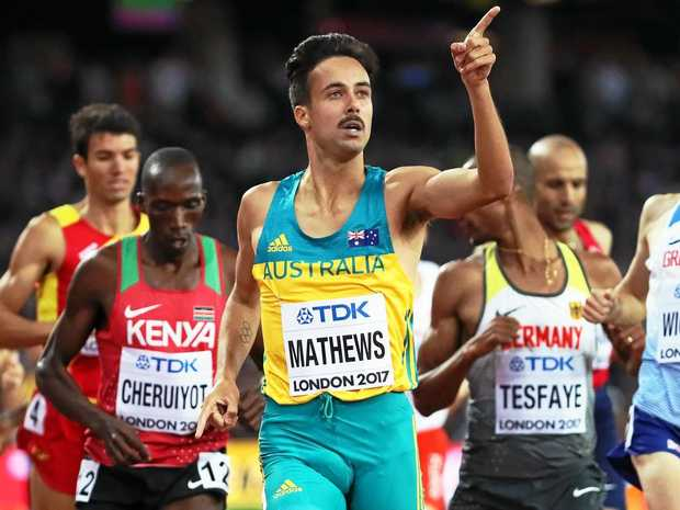 Australia's Luke Mathews reacts after winning his men's 1500m heat at the world championships in London.