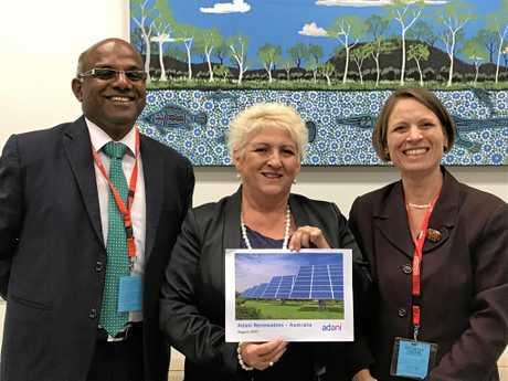 CANBERRA CATCH-UP: Muthuraj Guruswamy and Jennifer Purdie from Adani Australia Renewables with Capricornia MP Michelle Landry (centre).
