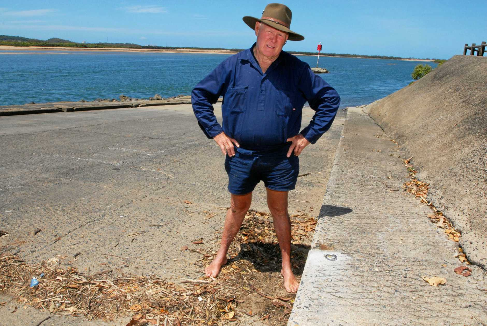 Ron Meng, pictured at the ramp in 2011, has long campaigned for improvements to the Pioneer River boat ramp.