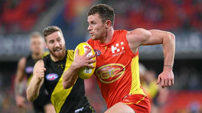 Suns player Pearce Hanley during the round 19 AFL match against the Tigers at Metricon Stadium on the Gold Coast.