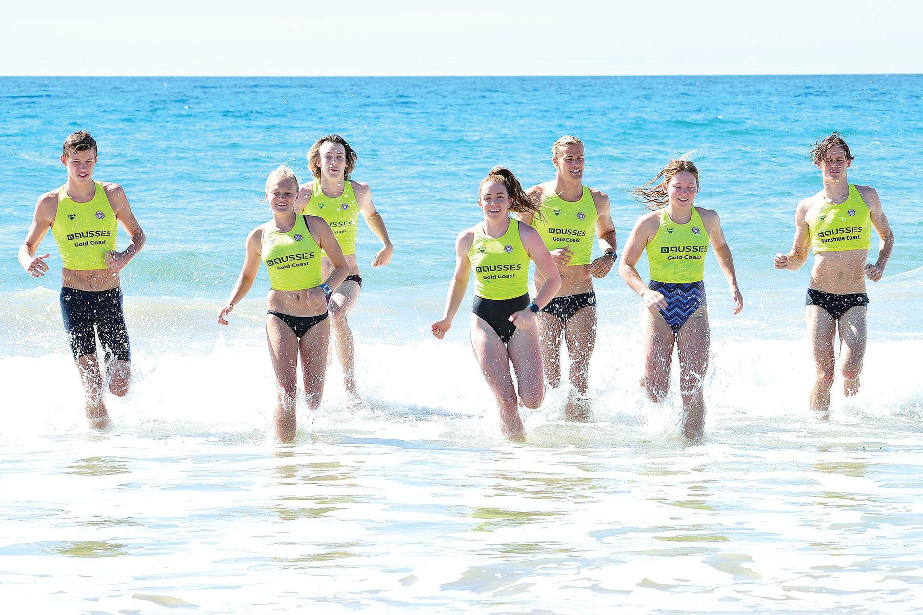 TALENT: The next generation of Sunshine Coast surf lifesavers at Alexandra Headland Beach. Ruben Zakarsay, Emma Woods, Lucinda Kelly, Corey Linton, Jett Kenny, Phoebe Wills-Grace and Campbell Guthrie.